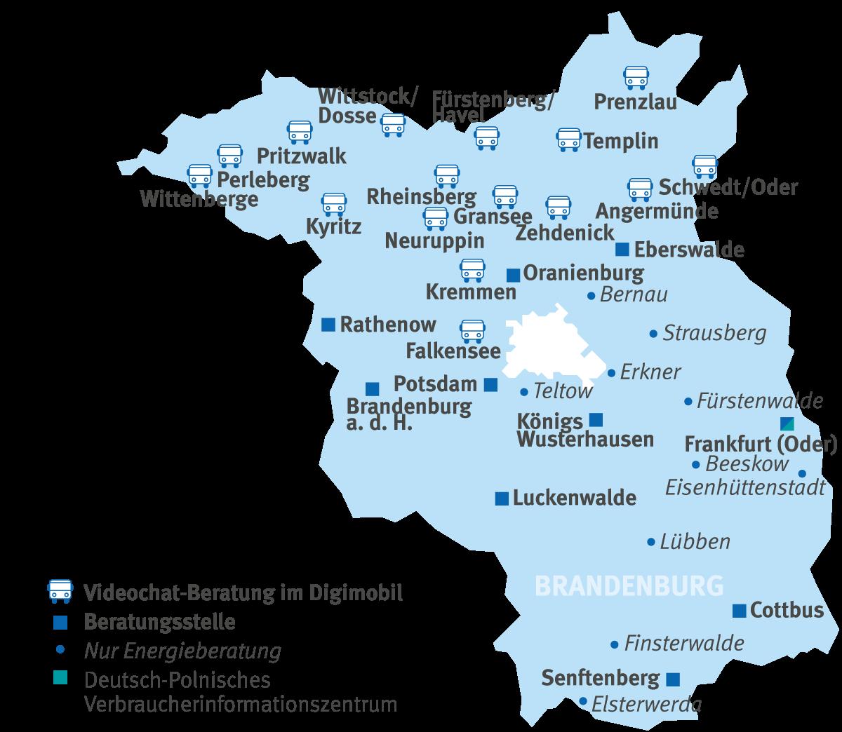 Karte des Landes Brandenburg mit den Standorten des Digimobils der VZ Brandenburg